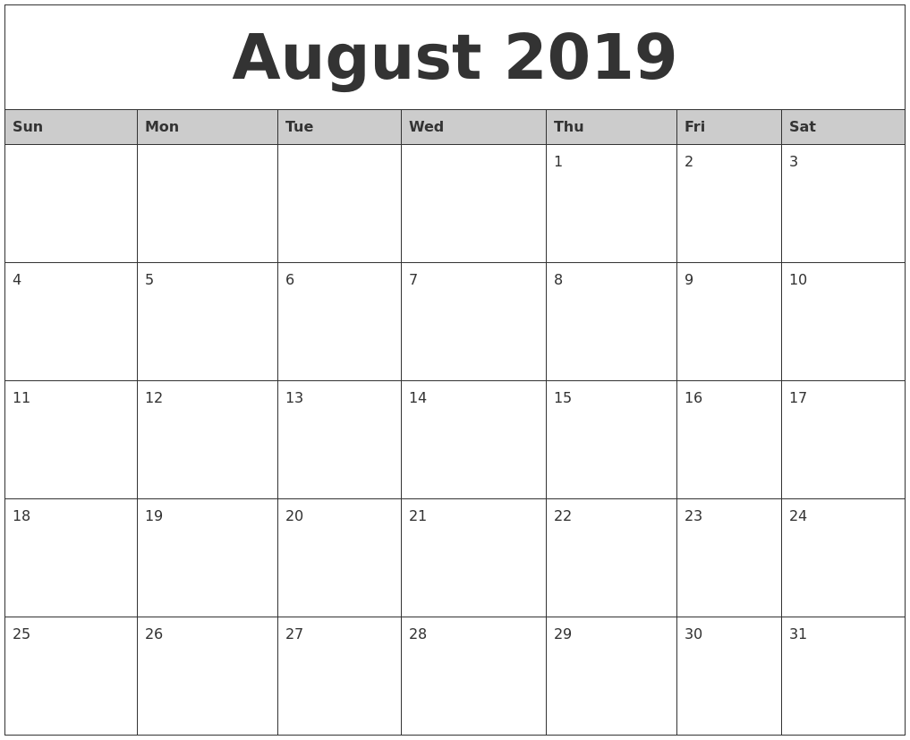 august 2019 monthly calendar printable