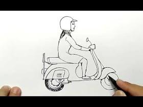 Sketsa Orang Mengendarai Motor