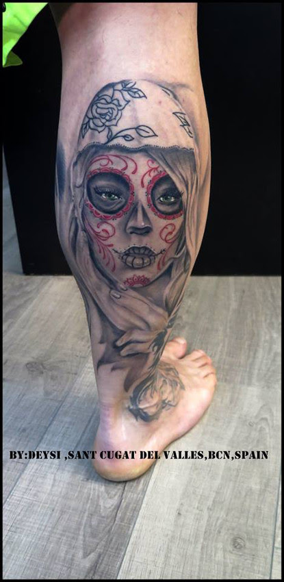 Tatuaje Catrina Color Deysi Tattoo Piercing
