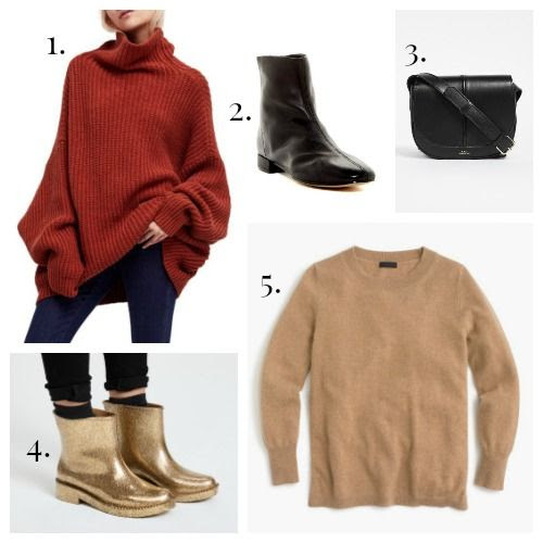 Loving This Week: Gold Rainboots + Pumpkin Spice Knits