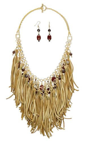 Bib-Style Necklace and Earring Set with Deerskin Leather Cord, Red Agate Gemstone Beads and SWAROVSKI ELEMENTS