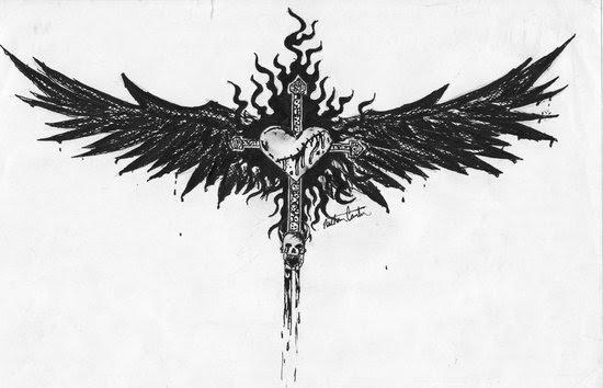 Angel Wings Cross Tattoo Design Sample