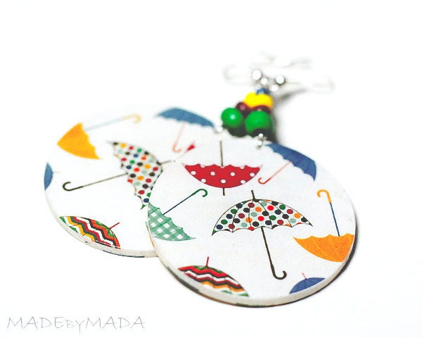 Colorful Umbrellas Earrings  dangle Round decoupage 2-sided Jewelry diameter 4cm (1,57 inch) ,  gift for her under 25