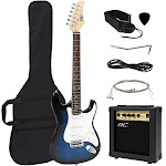 Best Choice Products 39in Full Size Beginner Electric Guitar Starter Kit With Case Strap 10w Amp Strings Pick Tremolo Bar (blue)