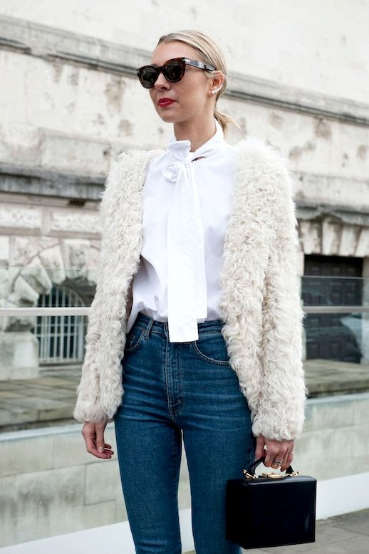 Le Fashion Blog Fall Street Style Lfw Sunglasses Red Lips Cream Textured Coat White Pussy Bow Top High Waisted Jeans Black Mark Cross Box Bag Via Popsugar
