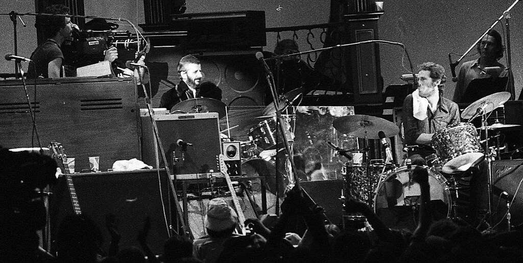 The Last Waltz concert at Winterland November 25, 1976, was filmed by Martin Scorcese Ringo Starr and Levon Helm at the drums  The Band and many guest musicians performed, including Neil Young, Bob Dylan, Van Morrison Eric Clapton Ron Wood, Ringo Starr, Dr. John  and Joni Mitchell Photo: Gary Fong, The Chronicle