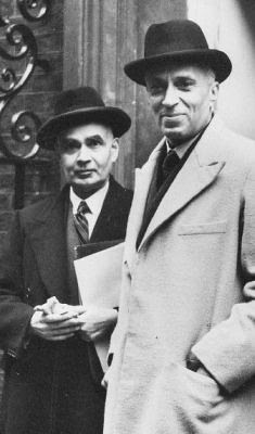 Prime Minister Jawaharlal Nehru with Girja Shankar Bajpai, the first Secretary-General of the Ministry of External Affairs, at the first meeting of Commonwealth Prime Ministers in 1948 in London. by South Asian Foreign Relations.