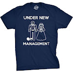 Crazy Dog T-Shirts Mens Under New Management Funny Wedding Bachelor Party Novelty Tee for Guys (Navy)