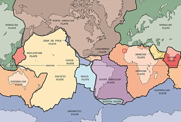 Tectonic plates map with the Canary Islands circled