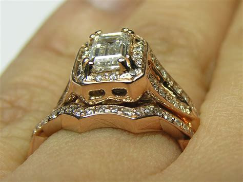 Engagement Ring  Pink Gold Emerald Cut Diamond twisted