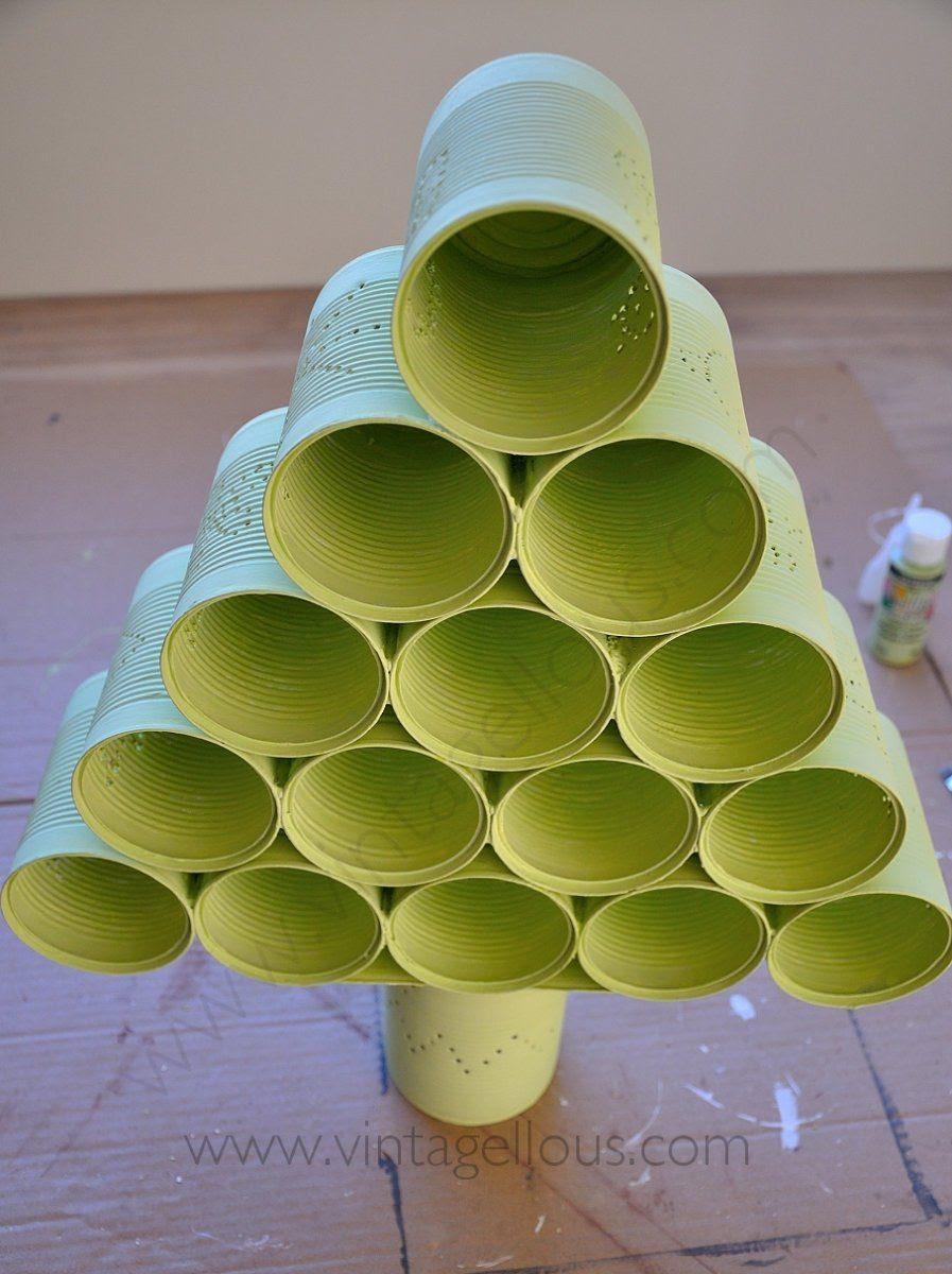 Diy Arbol De Navidad Con Latas Recicladas Manualidades
