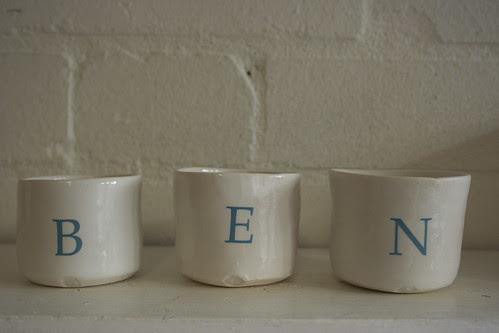 alphabet candle pots by potteryrachel