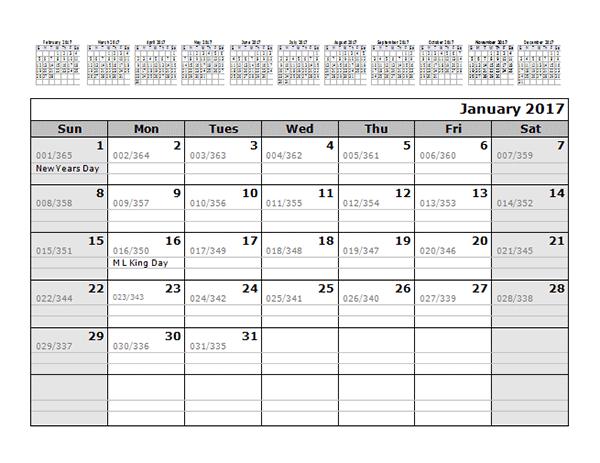 2017 Monthly Julian Calendar 12 Months Bottom - Free Printable ...
