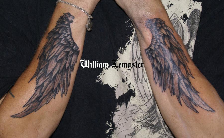 Grey Ink Angel Wings Tattoos On Sleeve
