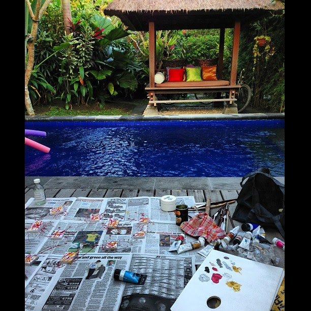 A day of painting by the pool. #bali #travel #holiday #painting #art #work