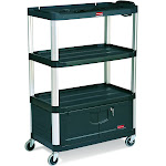 """Rubbermaid Fg9t3500bla Audio-Visual Cart, 4 Shelves with Cabinet, 4"""""""