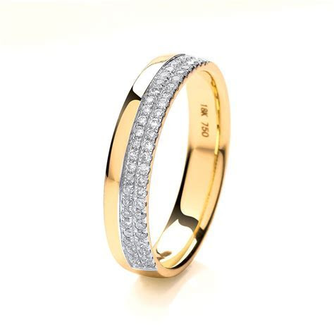 Womens 18ct Gold 2 row round Diamond Wedding Ring