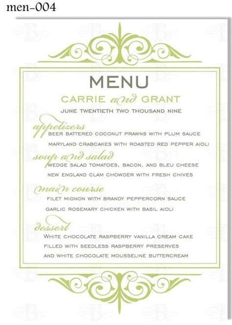 Printable Wedding Menu Card Digital Design