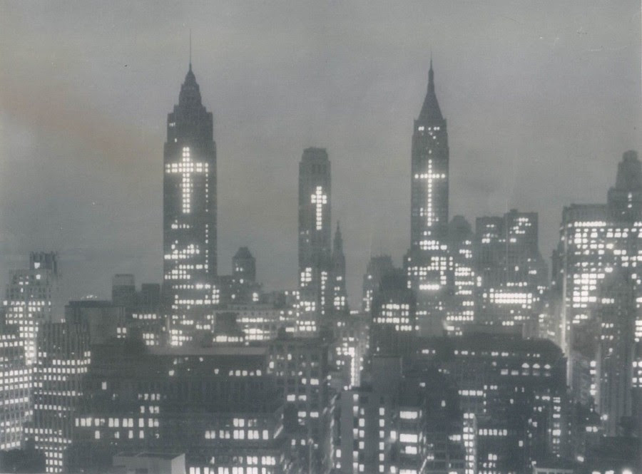 New York City skyscrapers lit with crosses for Easter March 29 1956
