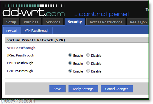 enable vpn passthrough on your router