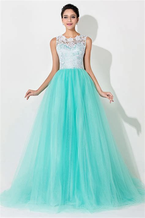 Cheap A Line Tulle Long Prom Dress with White Lace Sweep