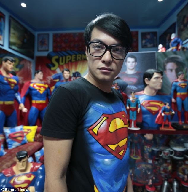Avid fan: In June 2013 Guinness recognised Herbert for having the largest collection of Superman memorabilia with 1,253 items