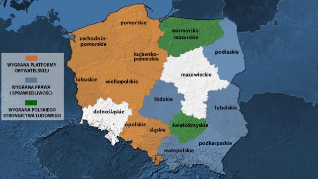 Są wyniki z 14 województw. PO wygrywa na Śląsku