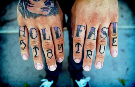 hold fast hate love knuckle tattoos