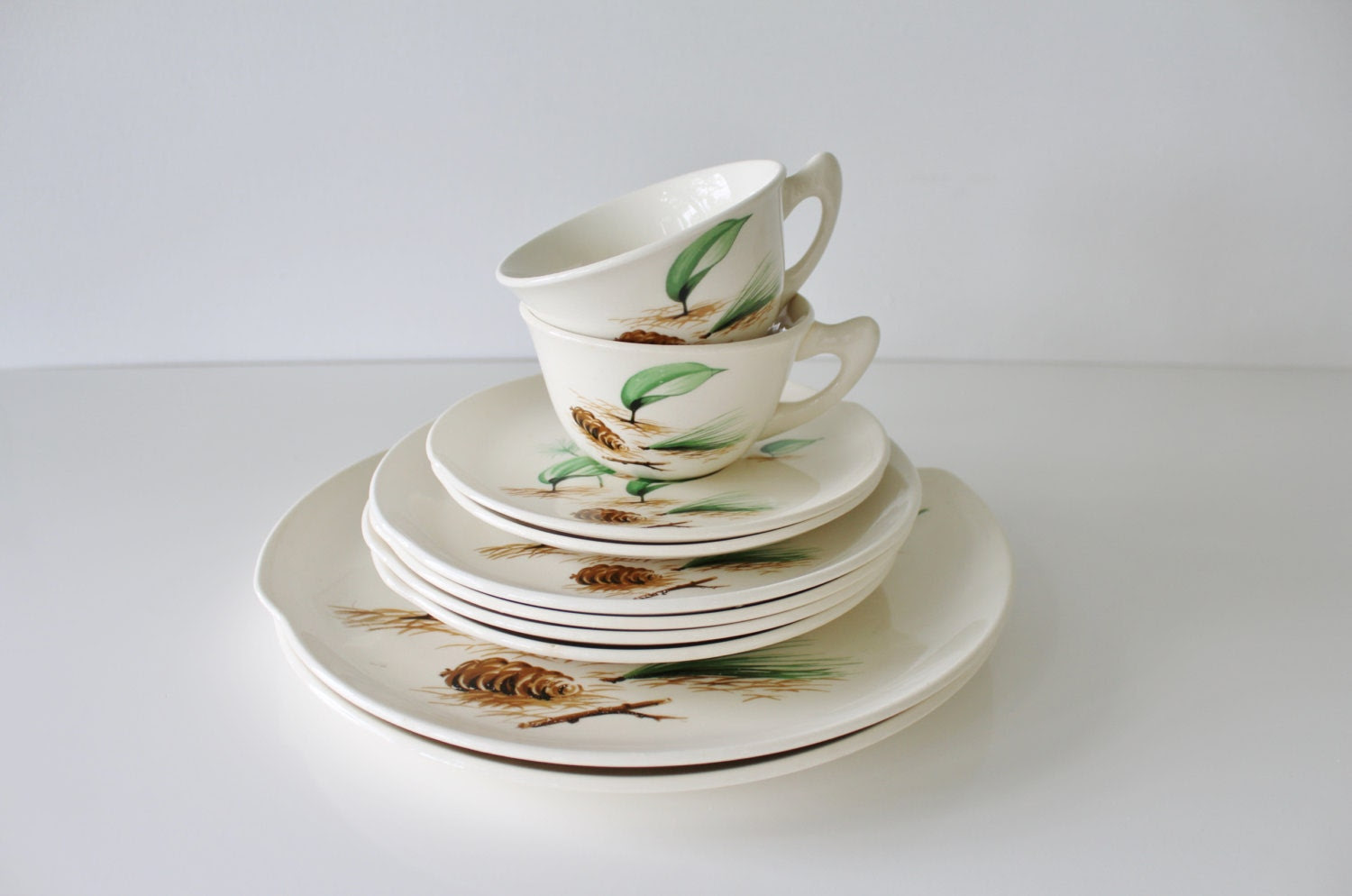 Forest Floor Dish Set - Vintage Mid Century W.S. George Dishes Half Century of Fine Dinnerware - TheVintageGang Kitchenware - Cups & Plates - TheVintageGang