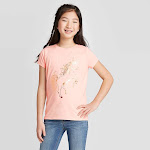 Girls' Short Sleeve Shine Unicorn Graphic T-Shirt - Cat & Jack Light Peach XL, Pink