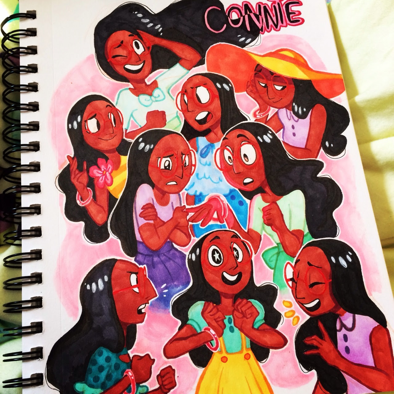 I finished my page of Connie sketches using copic markers and a white gelly roll pen. My only regrets are for messing up and not making Connie's glasses more visible oops uvu;;;
