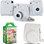 Fujifilm Instax Mini 9 Film Camera (Smokey White) + White Case - 20 Films Kit FUJIM9FPKC01