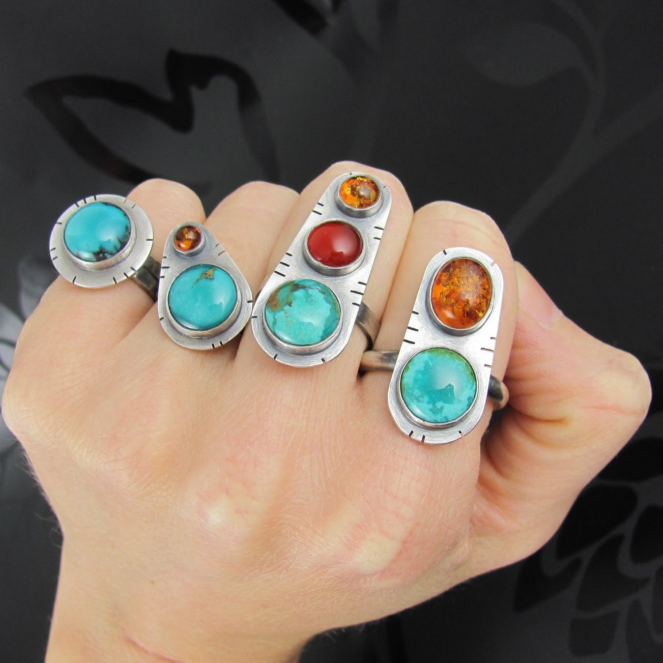 turquoise amber sterling silver ring - turquoise ring - amber ring - sterling silver ring - unique ring