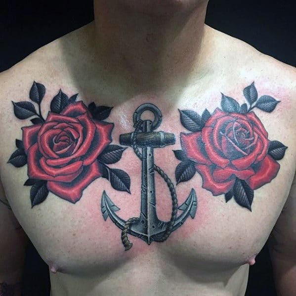 40 Anchor Chest Tattoo Designs For Men Nautical Ideas