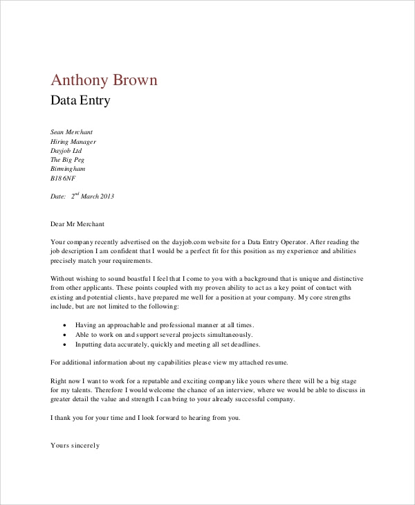 4 Data Entry Cover Letters Sample Templates