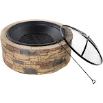 Sun Joe Classic Stone Cast Stone Fire Pit with Dome Screen and Poker