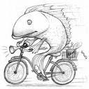 Fish on bike