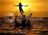 Sun sea and people playing