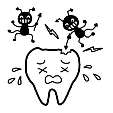 虫歯菌虫歯予防夏の行事学校無料白黒イラスト素材