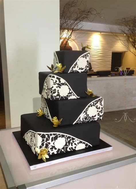 Black Wedding Cake with White Lace : Sugar Couture
