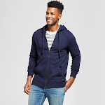 Men's Standard Fit Long Sleeve Hooded Fleece Sweatshirt - Goodfellow & Co Navy