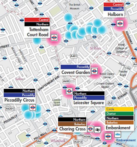 Hotspots in the central London - pink dots show public transport hotspots