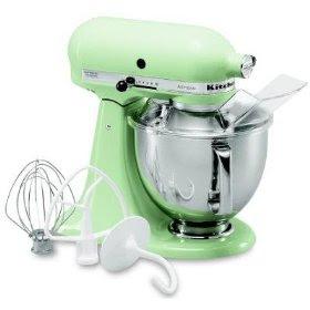 Adorable pistachio green colored stand-alone kitchen-aid mixer ...