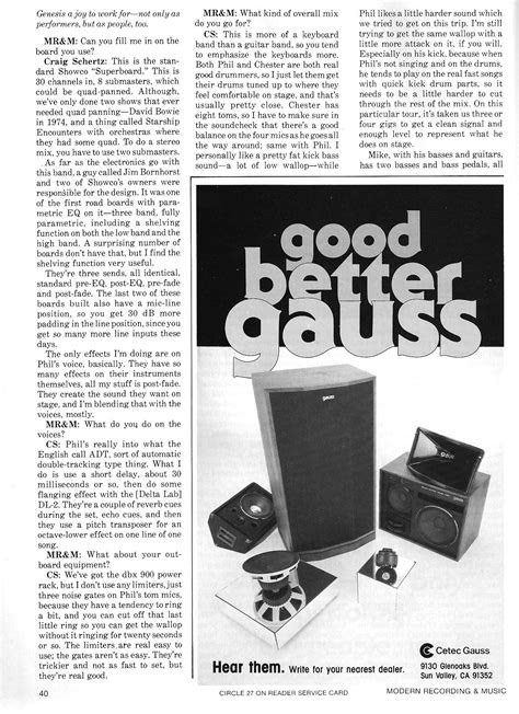 Modern Recording & Music February 1983 – Genesis feature
