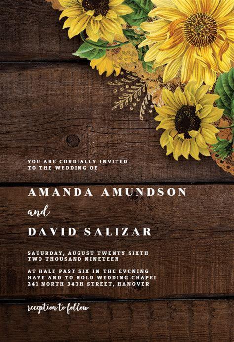 Rustic Sunflowers   Wedding Invitation Template (free