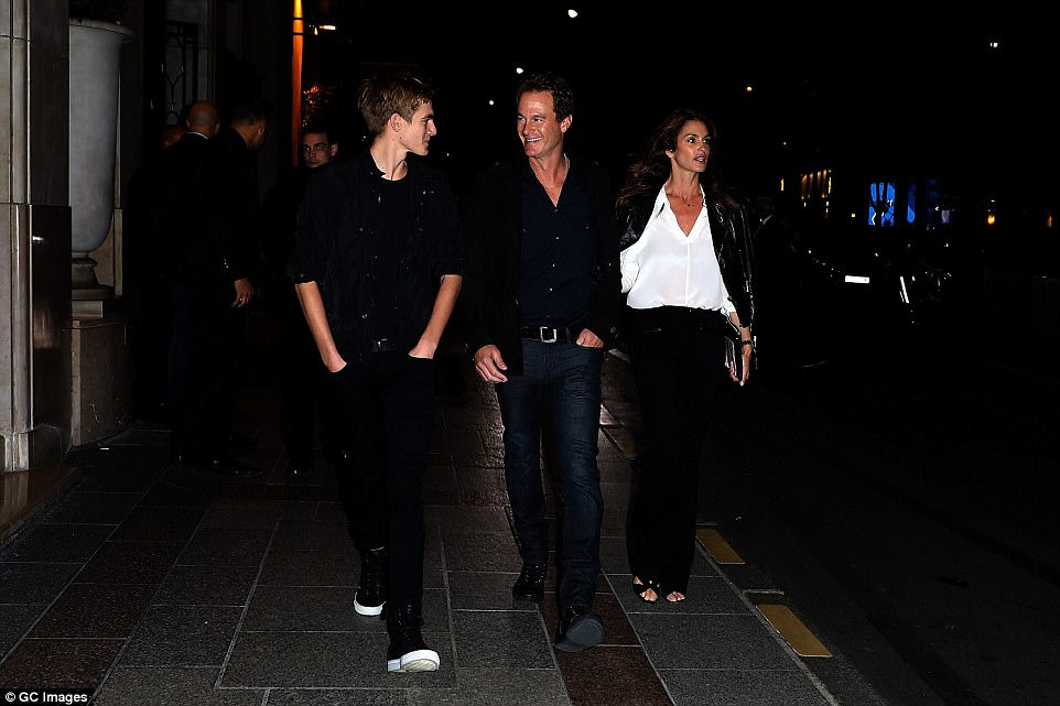 On hand:Throwing their support behind their teen daughter was Rande, Cindy and their model son Presley as they too appeared in Paris, yet headed for dinner across town