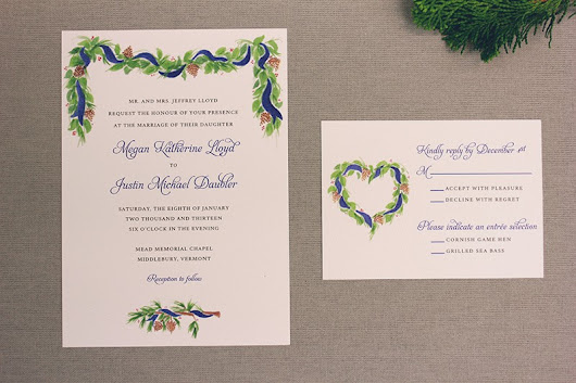 Brushed Pine Watercolor Wedding Invitations from Marry Moment