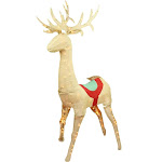 Northlight 5 ft. Pre-Lit Rustic Burlap Standing Reindeer Christmas Yard Decoration