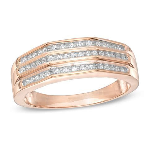 Men's 1/4 CT. T.W. Diamond Wedding Band in 10K Rose Gold