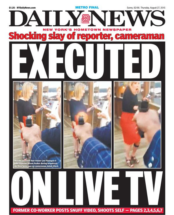 The cover of tomorrow's New York Daily News : rage